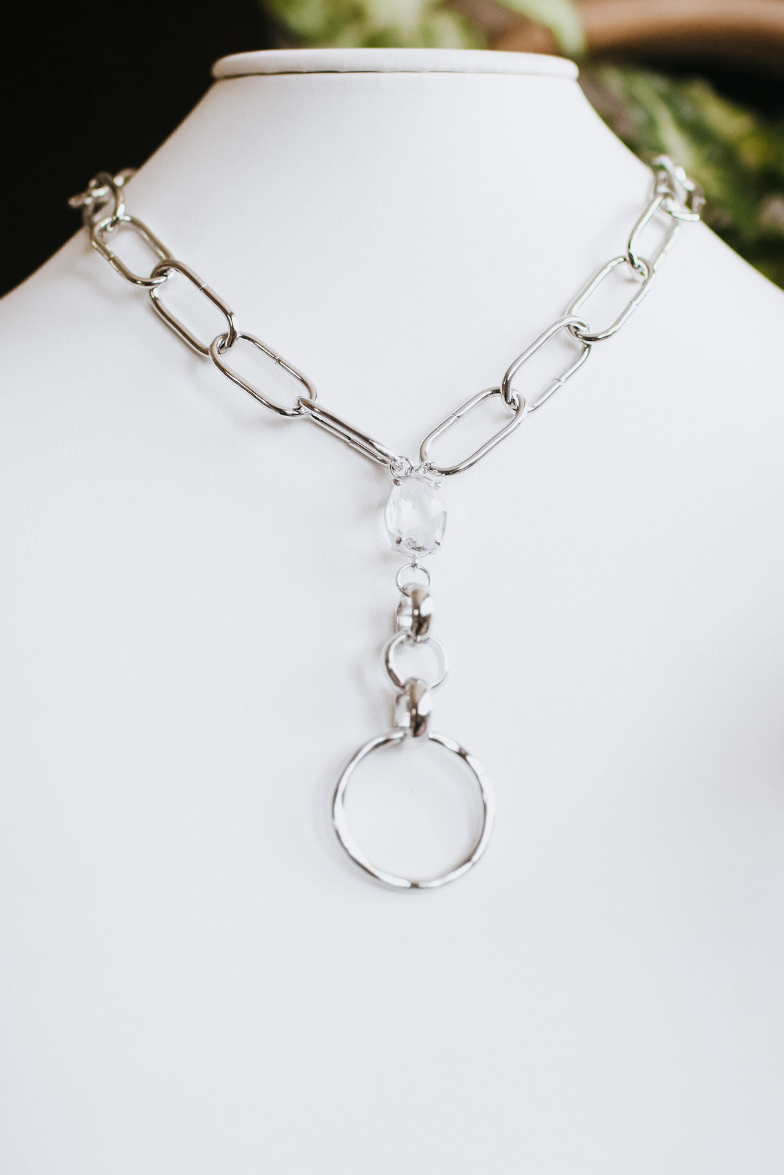 Long Link Chain Crystal & Open Circle Necklace