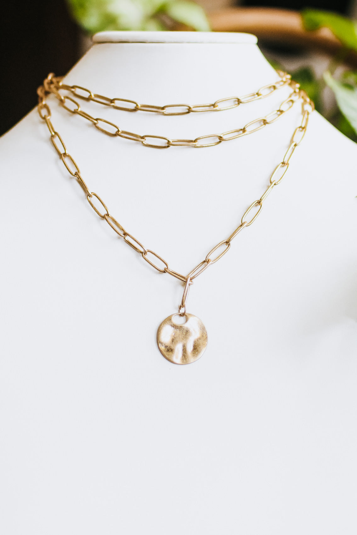 Three Layer Long Link Hammer Coin Necklace