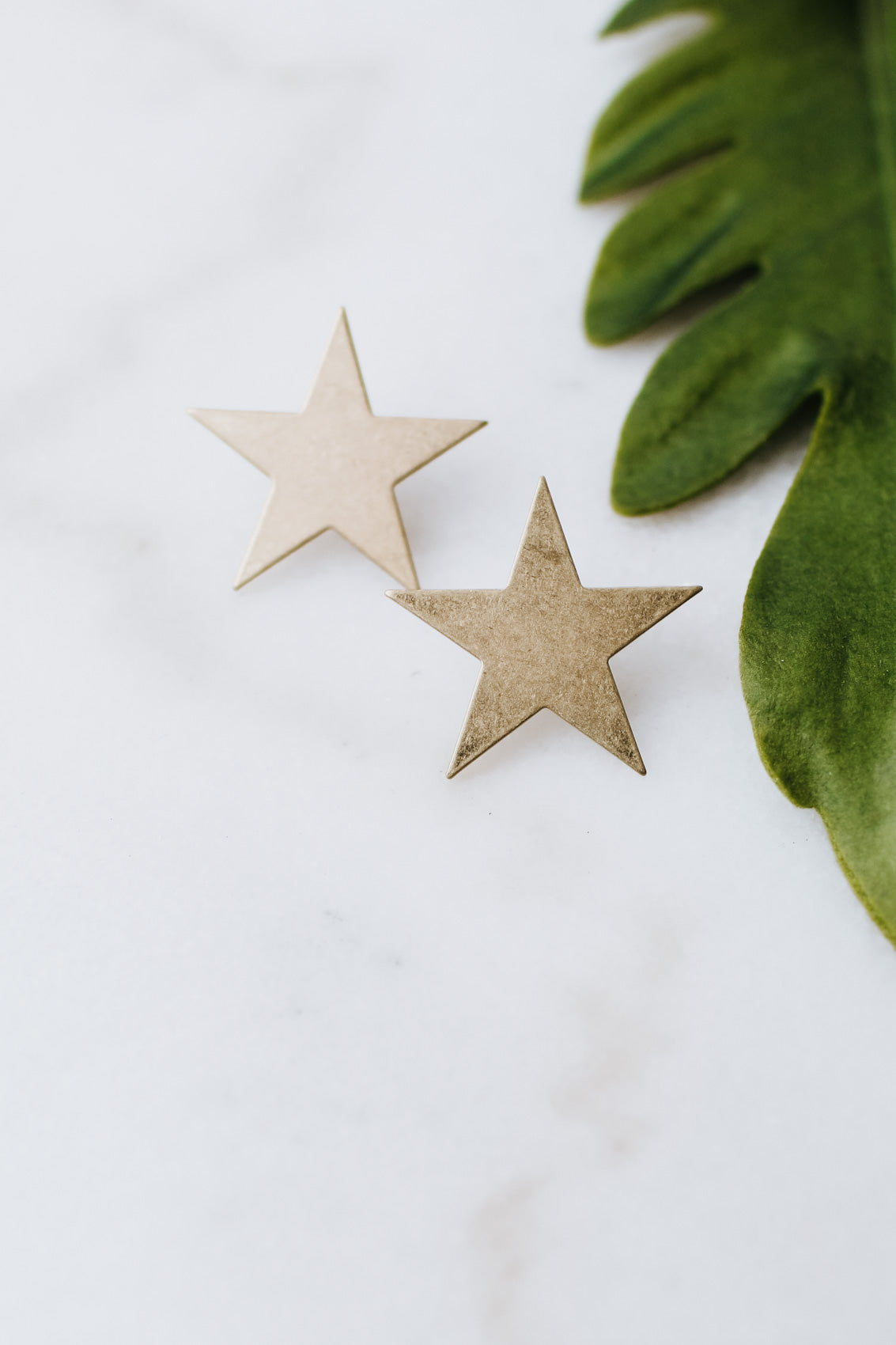 Flat Brush Metal Star Stud