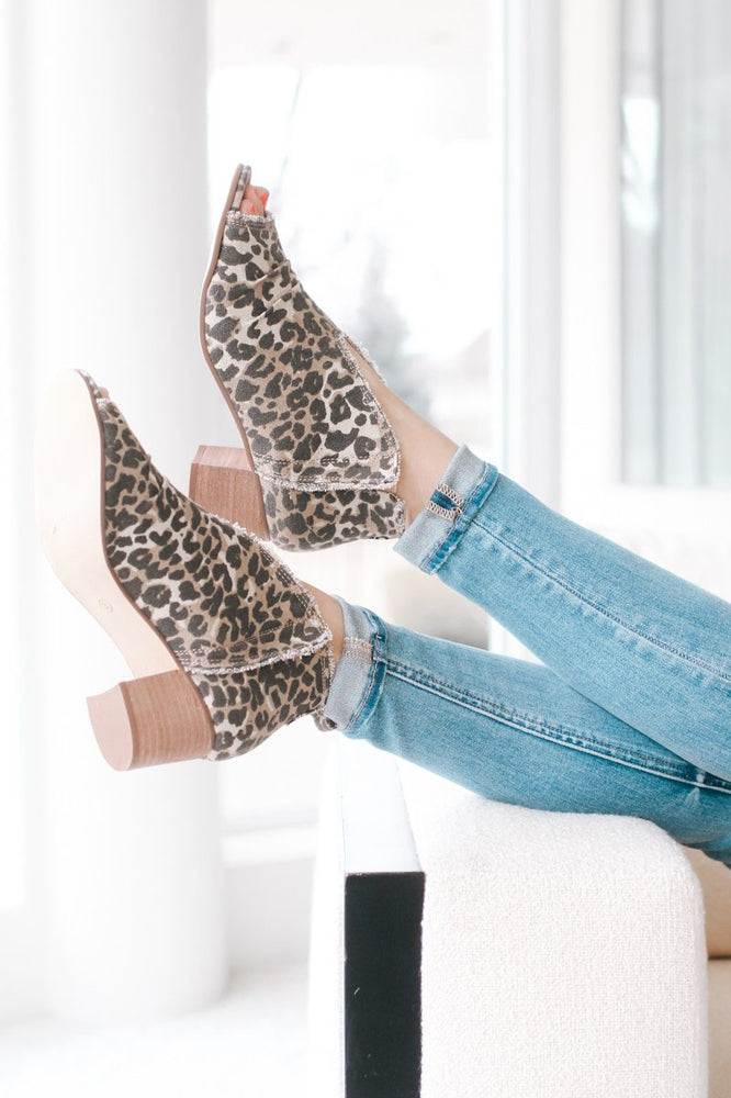 Leopard Fray Trim Canvas Bootie