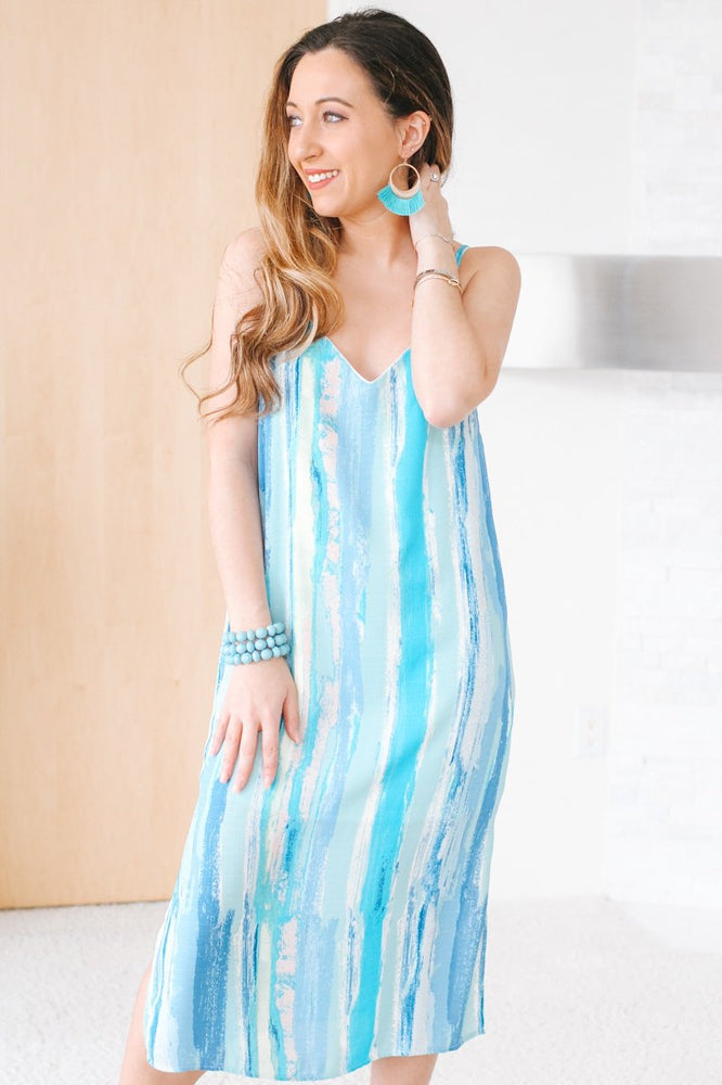 Cross Back Midi Tie Dye Dress-Glitz & Ears Boutique