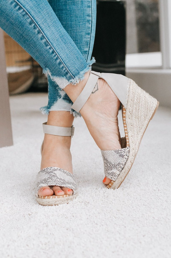 Snakeskin Jute Wedge-Glitz & Ears Boutique