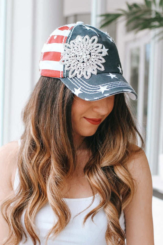 Star & Stripe Flower Baseball Hat-Glitz & Ears Boutique