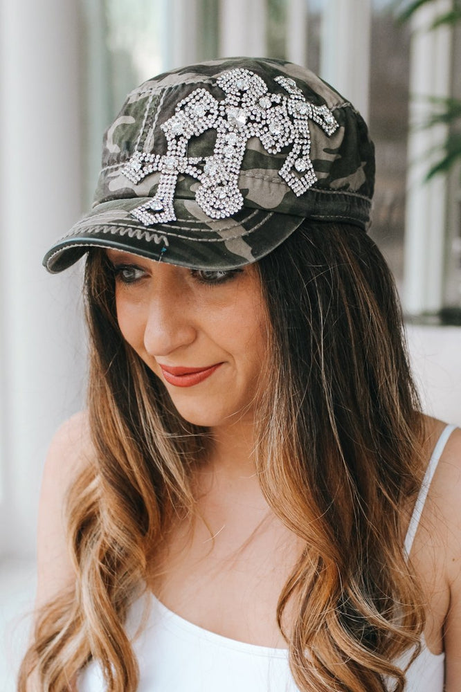 Triple Rhinestone Cross Baseball Hat-Glitz & Ears Boutique