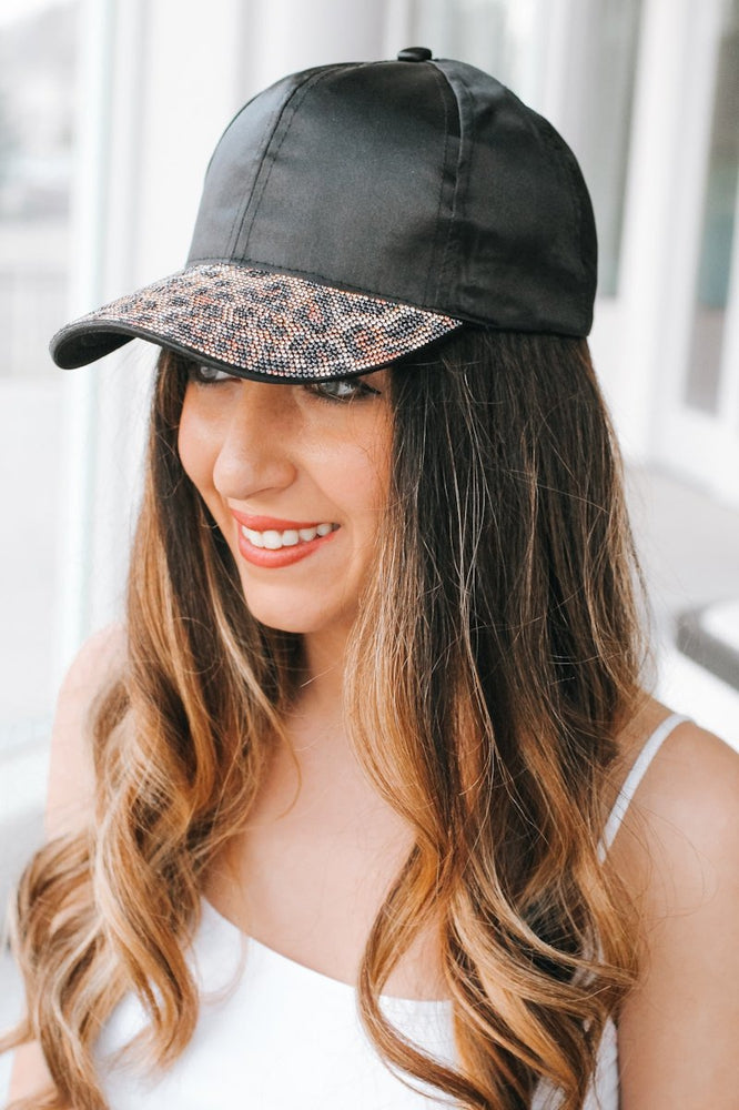 Leopard Stone Brim Baseball Hat-Glitz & Ears Boutique