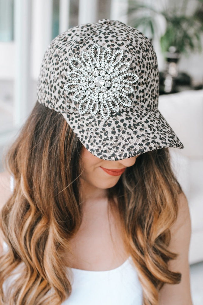 Rhinestone Flower Leopard Baseball Hat-Glitz & Ears Boutique