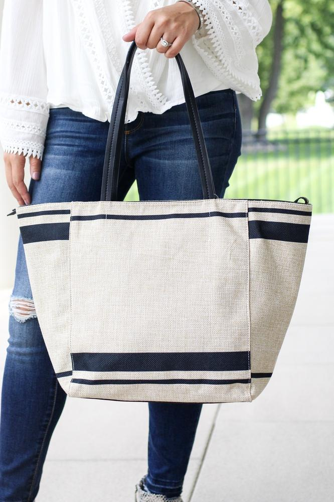 Two Tone Lines Canvas Purse