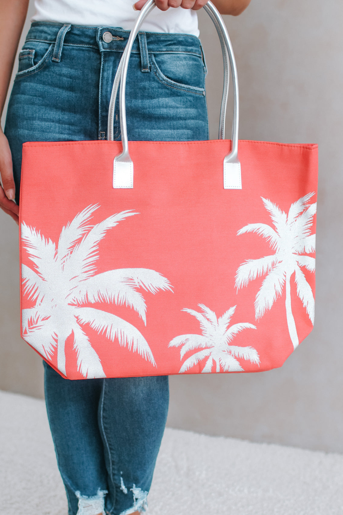 Metallic Palm Print Beach Bag