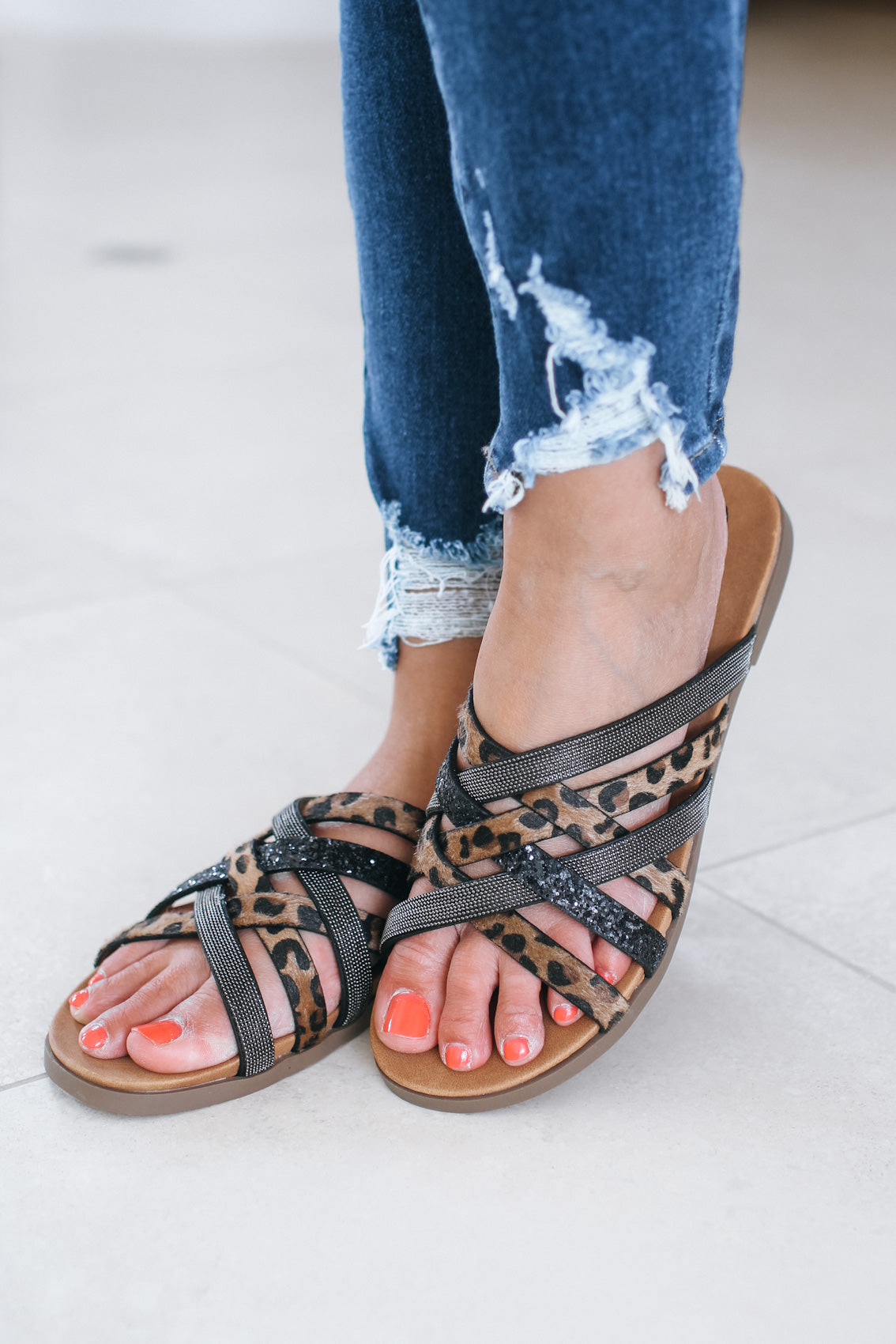 Leopard & Beaded Overlap Strip Sandal