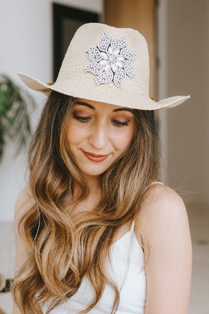Straw Cowboy Hat with Rhinestone Star-Glitz & Ears Boutique
