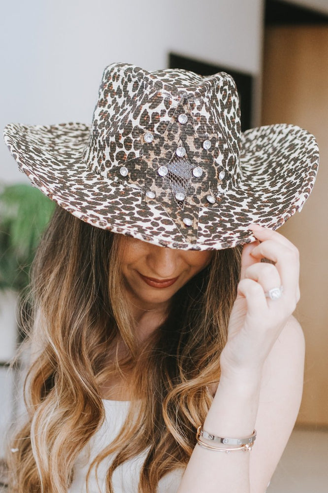 Leopard Print with Star Cowboy Hat-Glitz & Ears Boutique