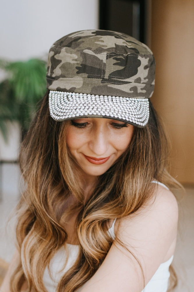 Camo Cadet Hat with Stone Brim-Glitz & Ears Boutique