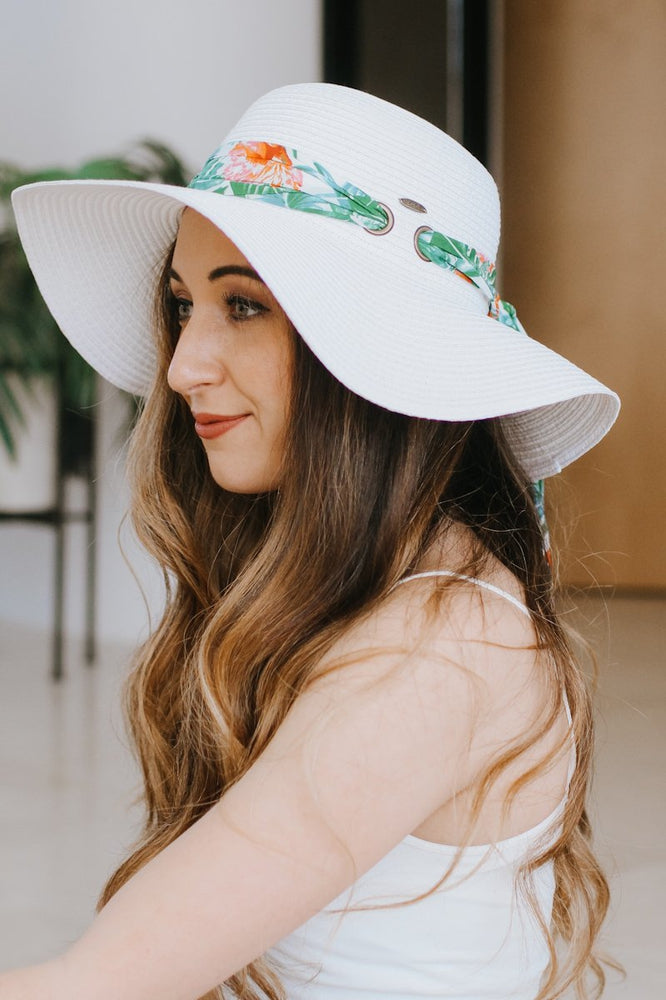 Tropical Print Scarf Floppy Hat-Glitz & Ears Boutique