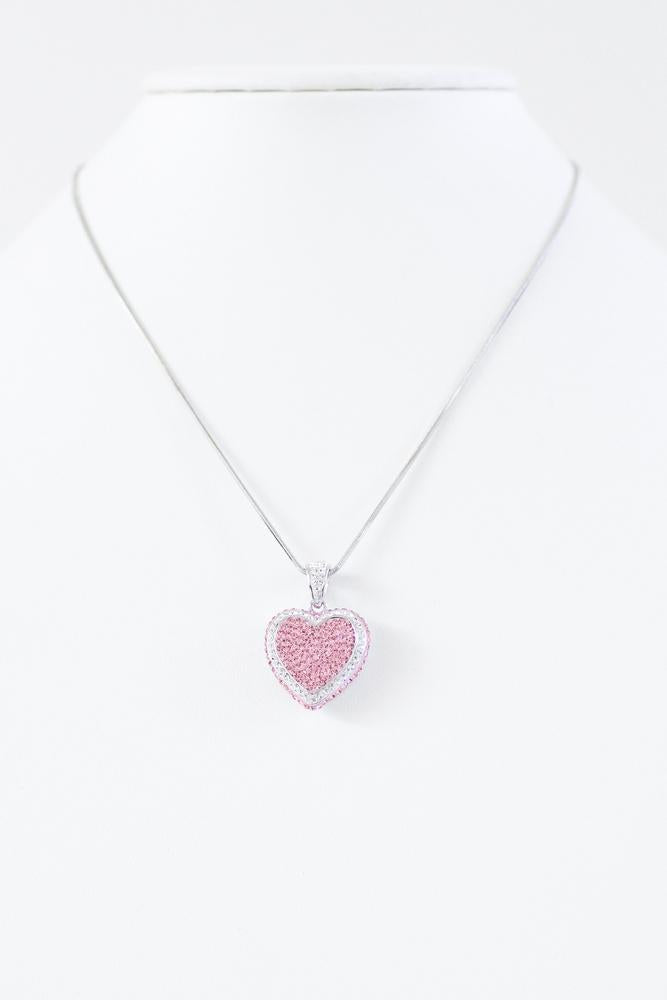 Rhinestone Heart Outline Necklace-Glitz & Ears Boutique