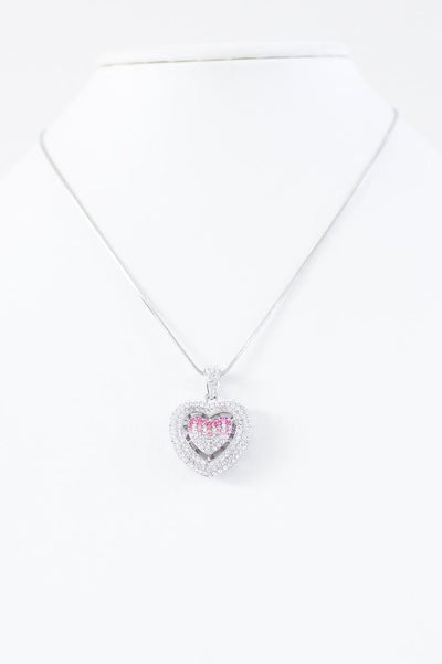 Double Heart Charm Necklace - Glitz & Ears