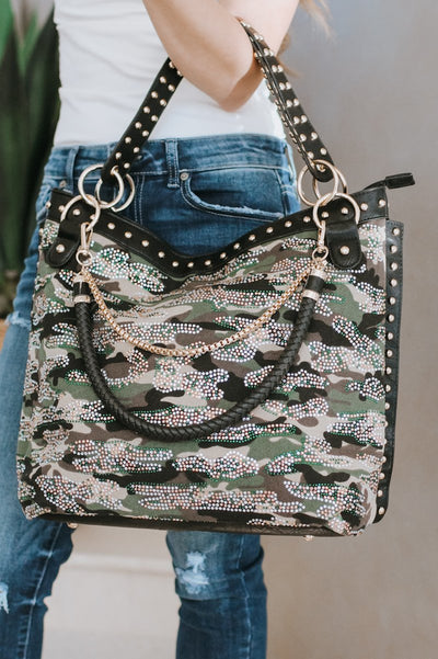 Rhinestone Camo & Stud Purse-Glitz & Ears Boutique