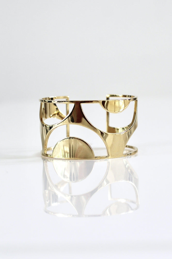 Cutout Half Circle Metal Cuff - Glitz & Ears