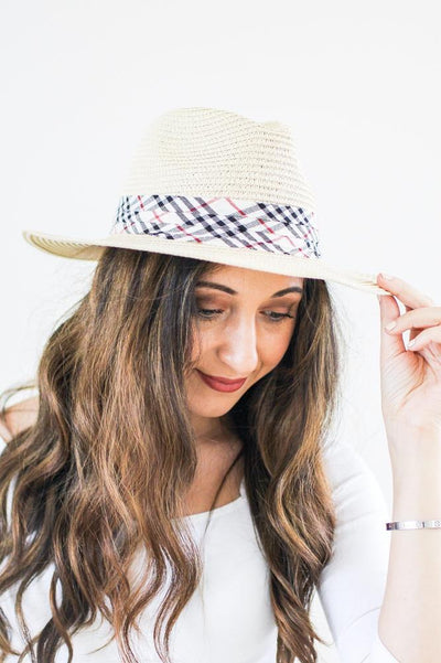Plaid Band Panama Hat
