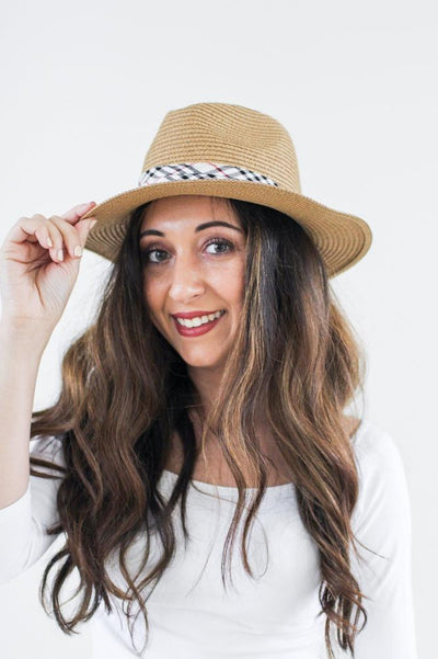 Plaid Band Panama Hat-Glitz & Ears Boutique