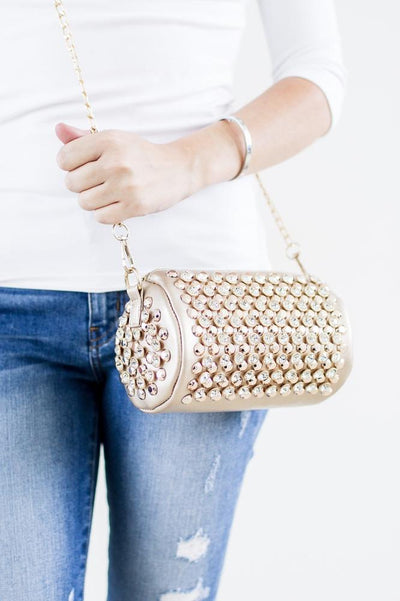 Barrel Shape Stud & Rhinestone Messenger - Glitz & Ears