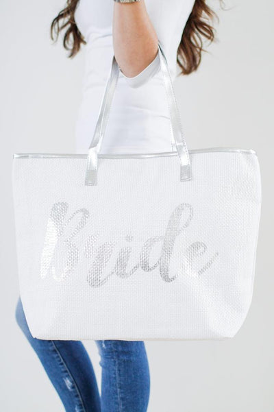 Canvas Metallic 'Bride' Beach Bag - Glitz & Ears