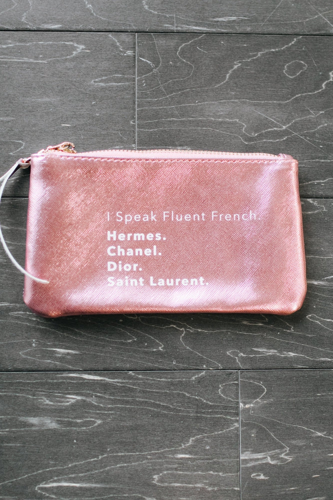 Fluent French Metallic Makeup Bag