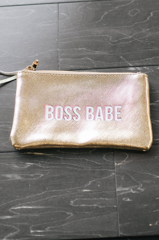 Boss Babe Metallic Makeup Bag