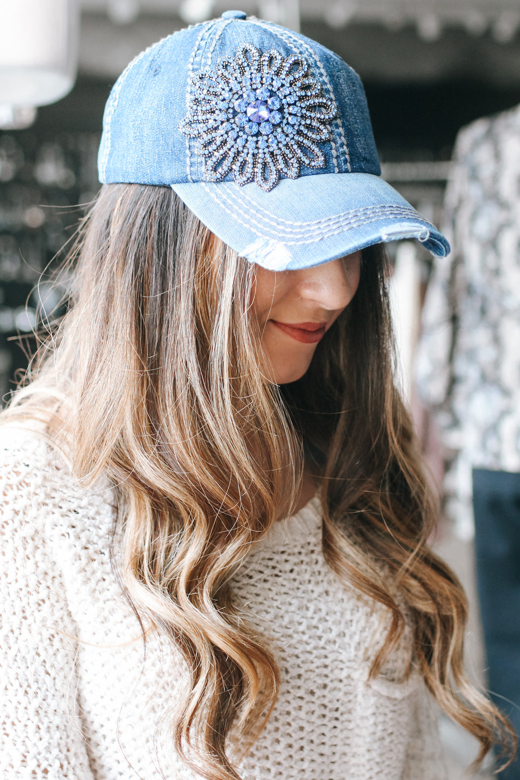Distressed Denim Flower Baseball Hat