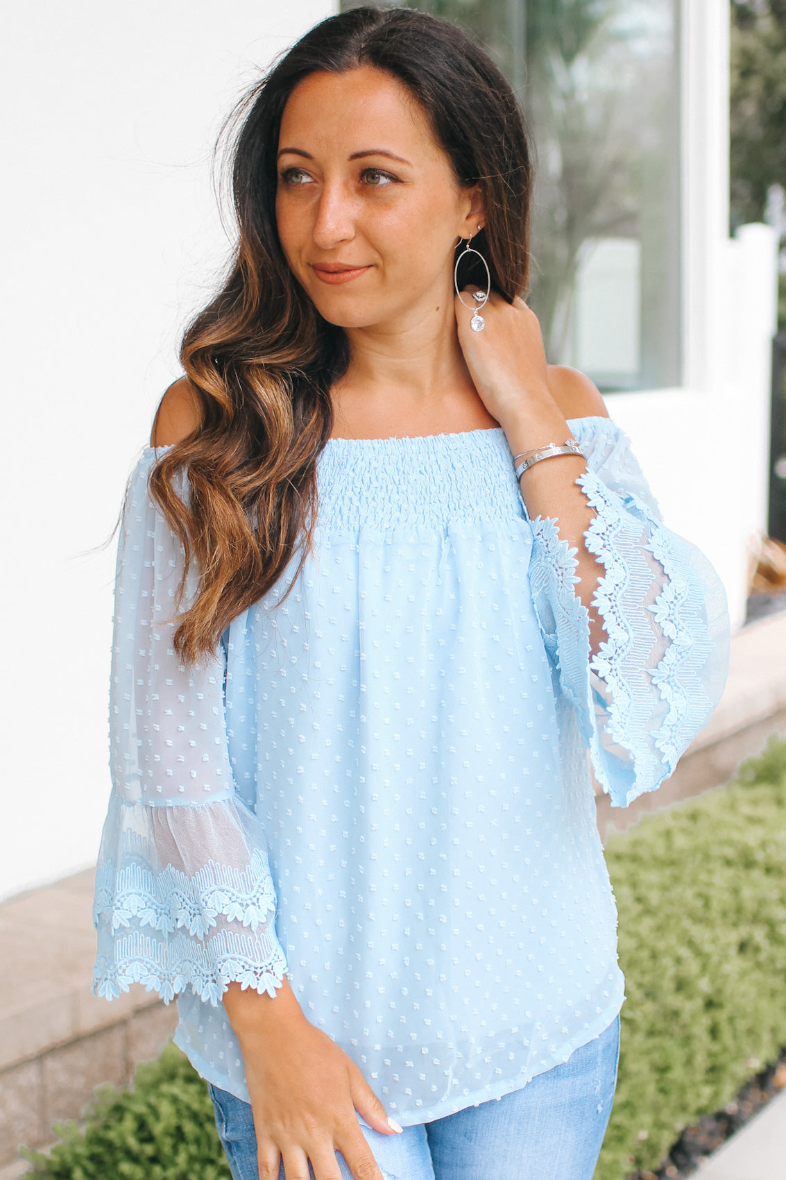 Off the Shoulder Spot Embroidered Blouse