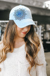 Rhinestone Flower Ponytail Baseball Hat