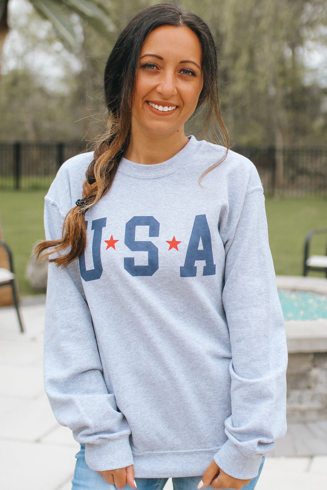 USA Graphic Crew Neck Sweatshirt