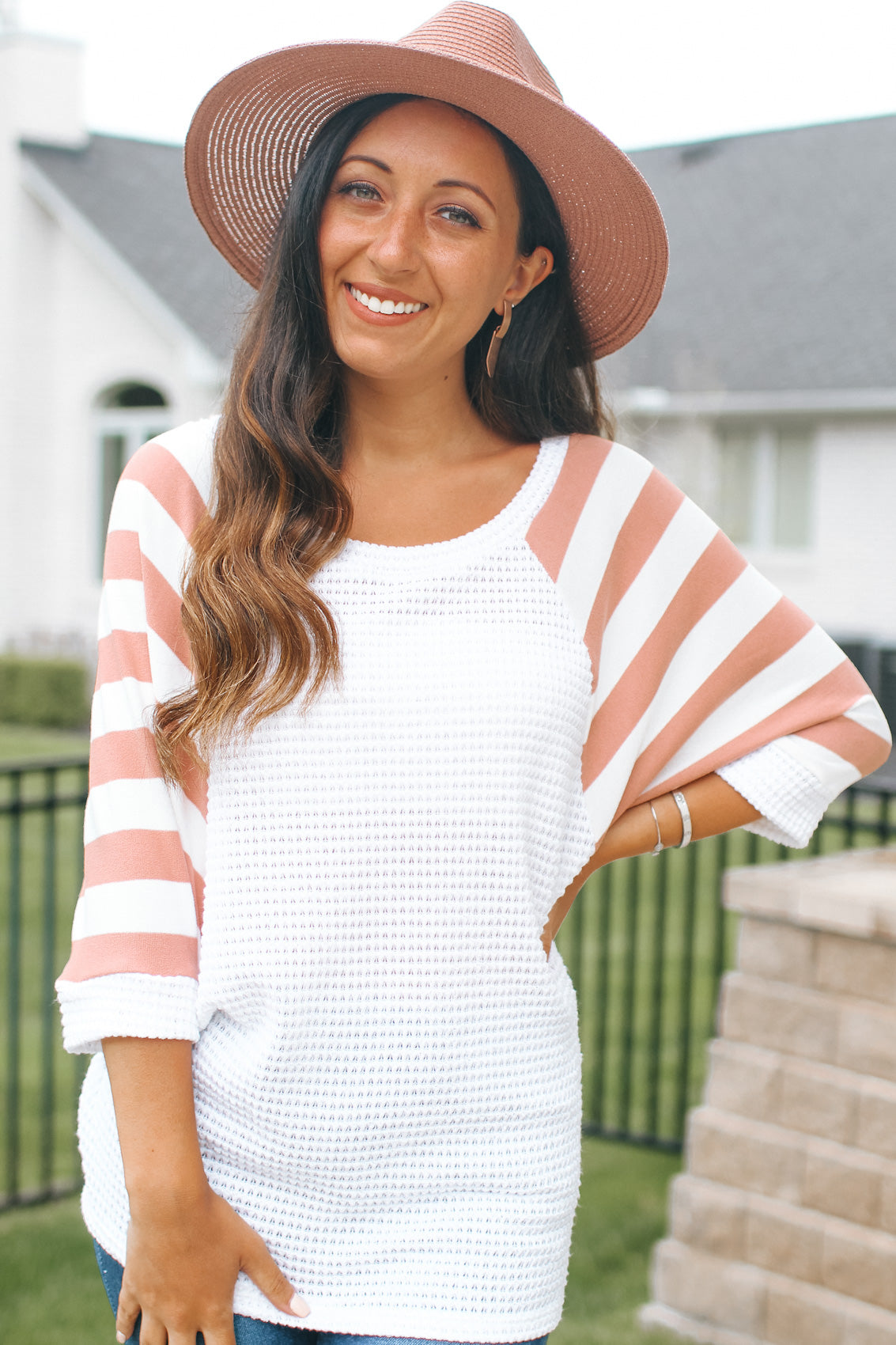 Striped Dolman Cut Sleeves Top