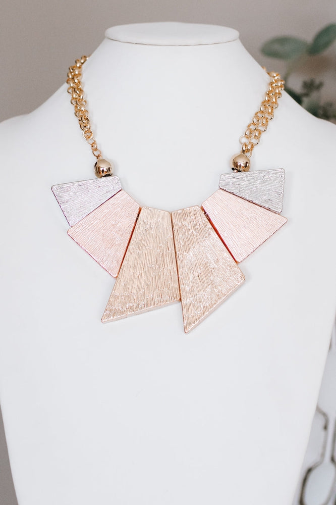 Lined Metal Pendants Tri-Tone Necklace