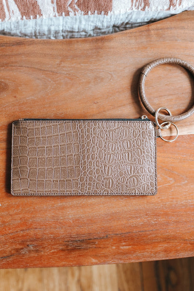 Alligator Leather Ring Clutch