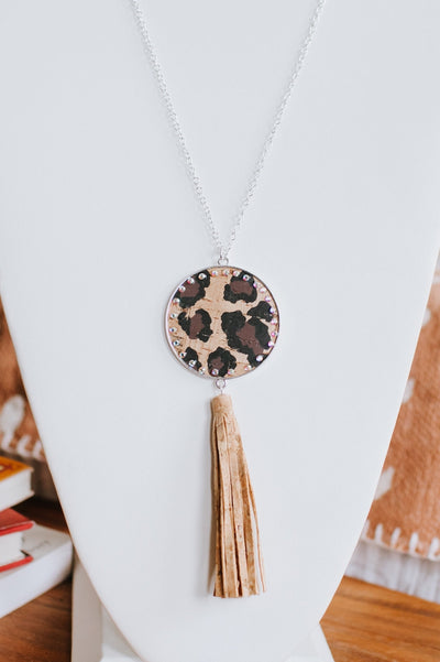 Printed Circle & Stone Trim Tassel Necklace