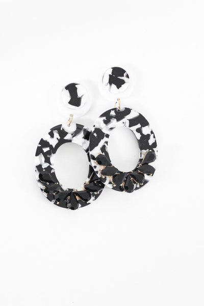 Marble Oval Stone Bottom Earring