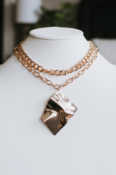 Shiny Curved Square Double Chain Necklace