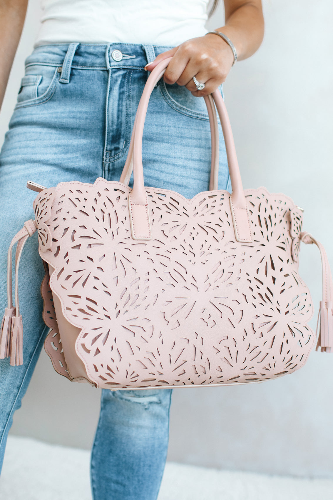 Butterfly Laser Cut Tassel Side Purse