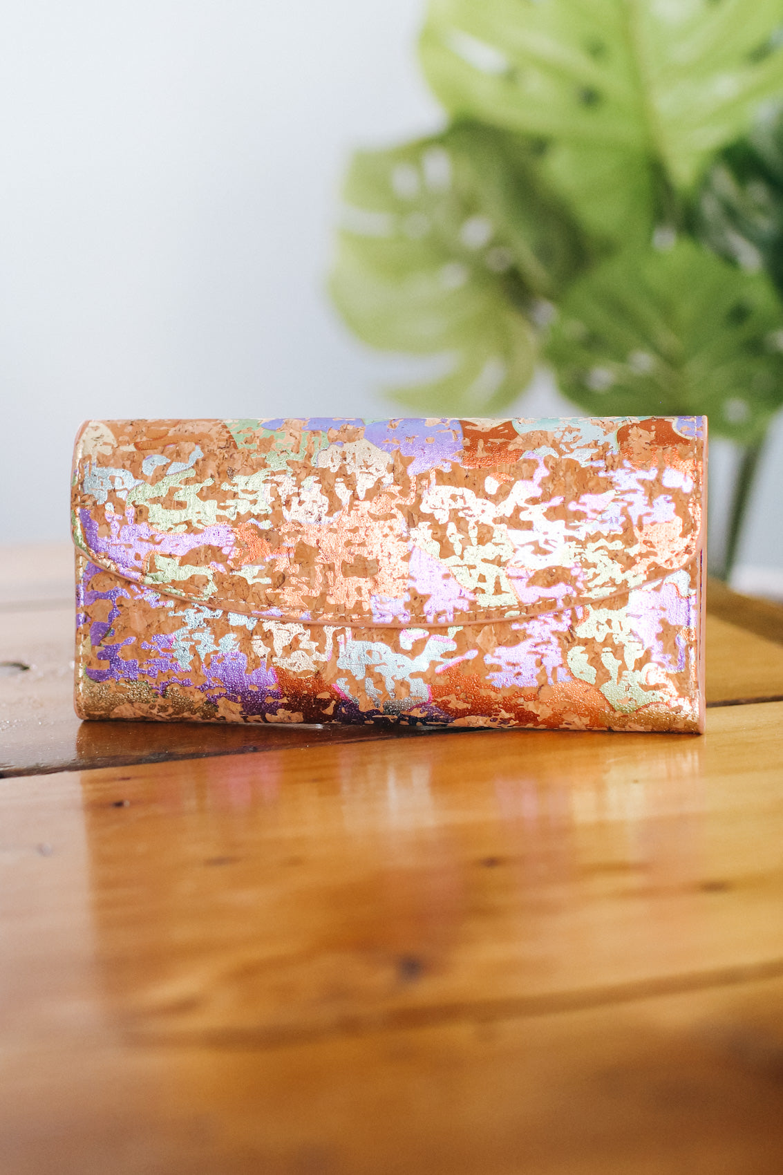 Splatter Metallic Cork Snap Wallet