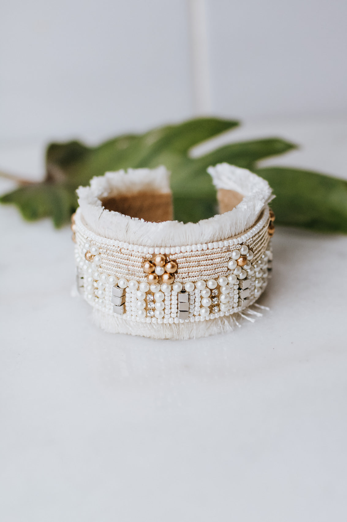 Small Bead & Flower Design Tassel Cuff