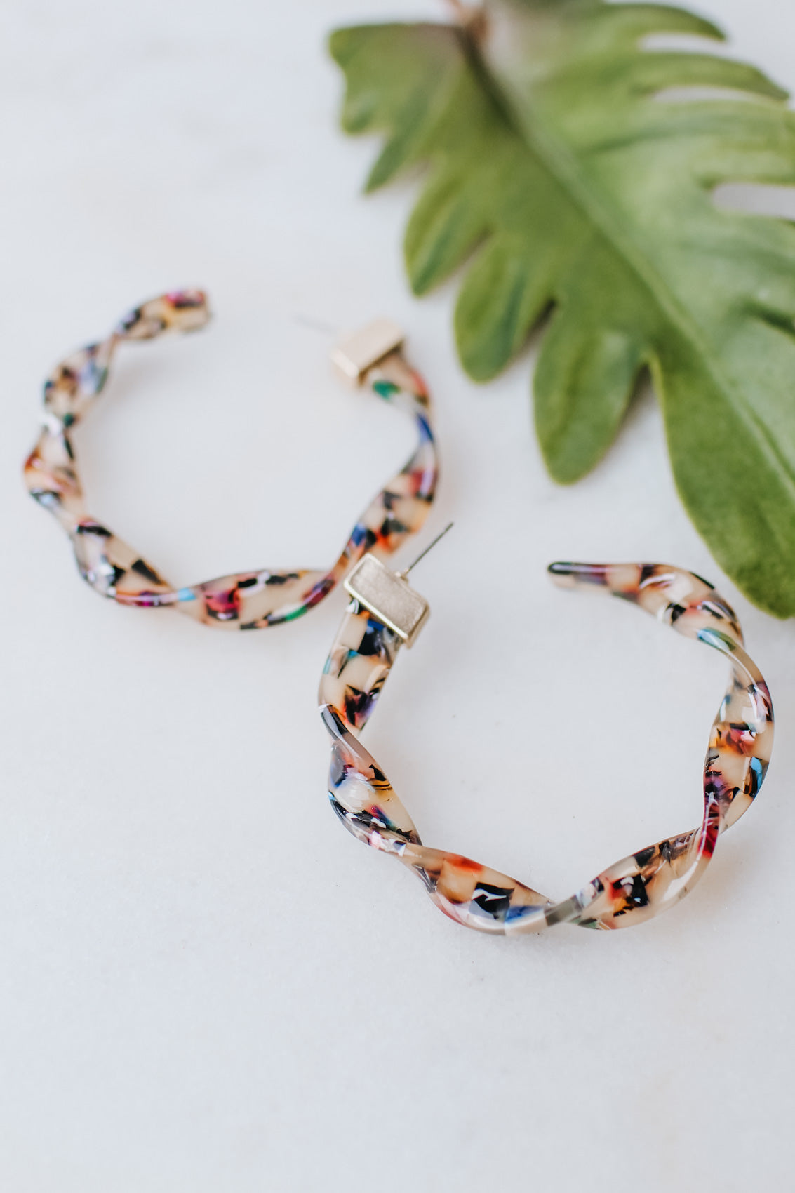 XL Marble Acrylic Twist Open Back Hoop