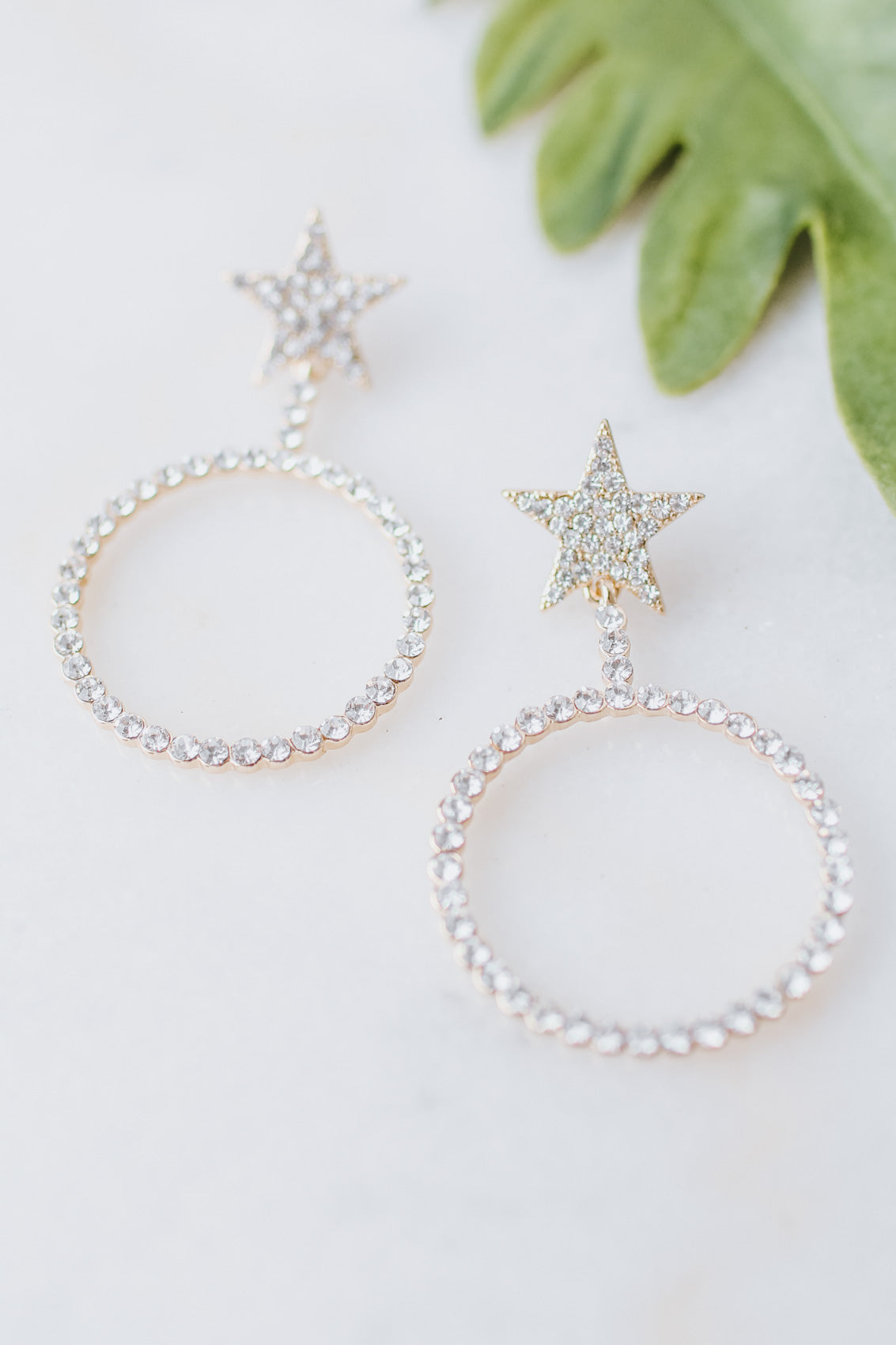 Rhinestone Star Post & Open Circle Earring