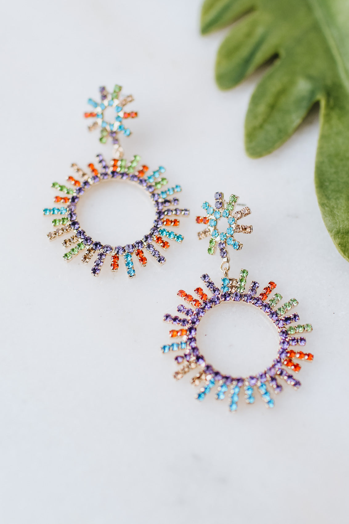 Color Row Open Star Burst Earring