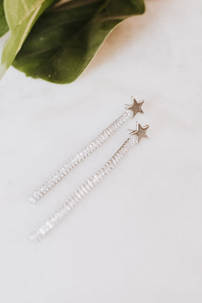 Metal Star Long Baguette Row Earring
