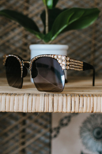 All Rhinestone Top/Corner Sunglasses