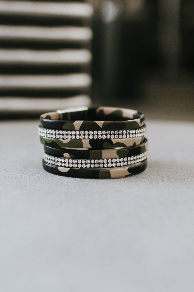 Camo Leather Magnetic Bracelet