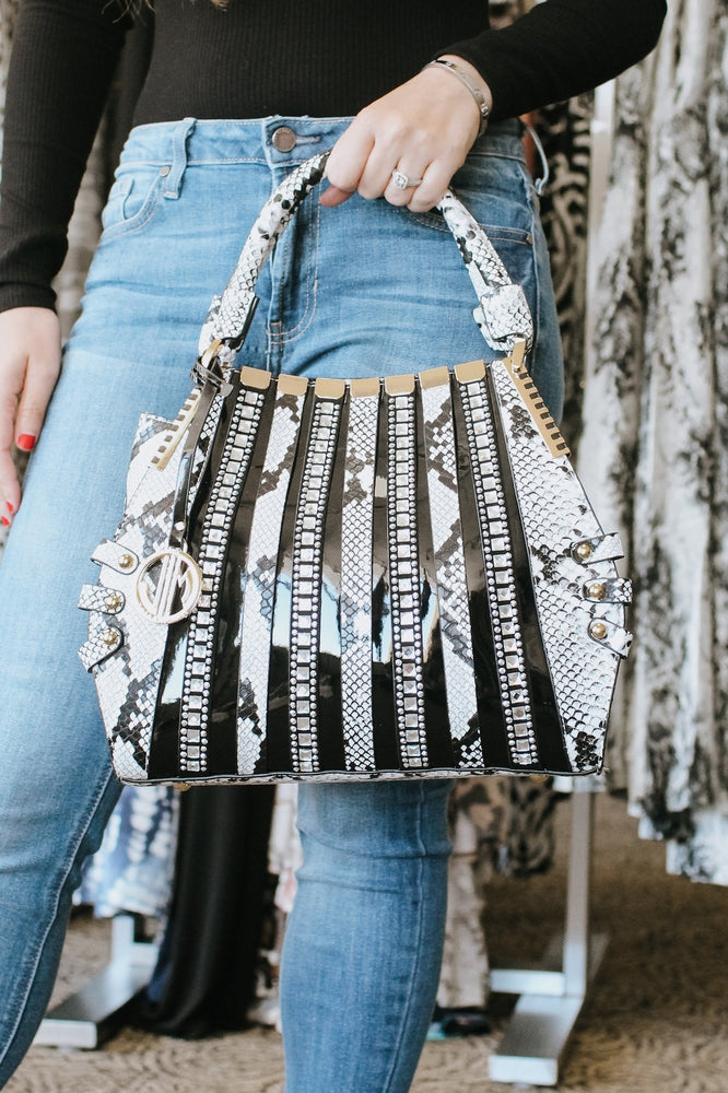 Rhinestone & Hardware Detail Purse
