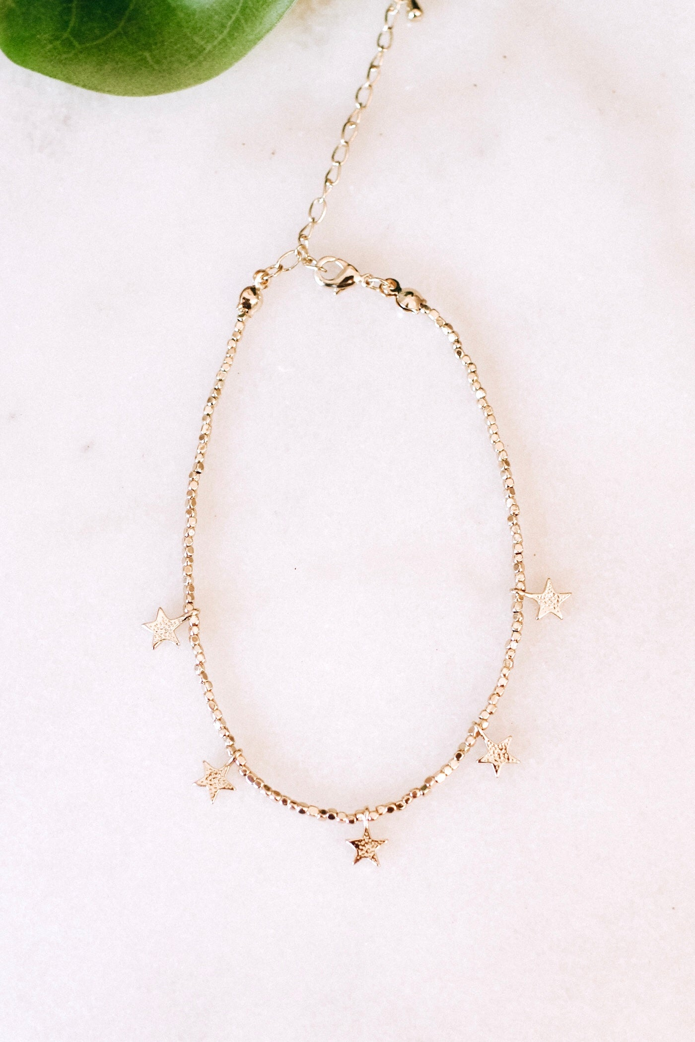 Thin Bead Five Star Anklet