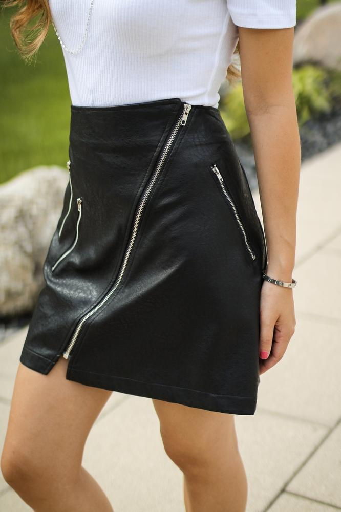 Angled Zippers Faux Leather Skirt - Glitz & Ears