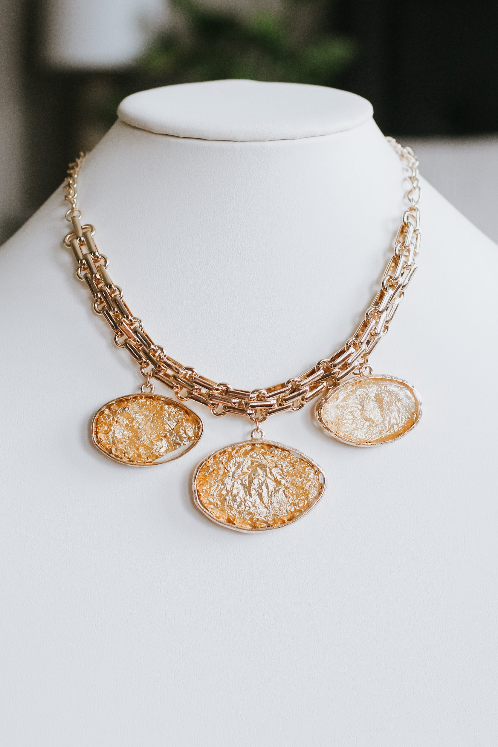 Oval Gold Bead Layered Necklace